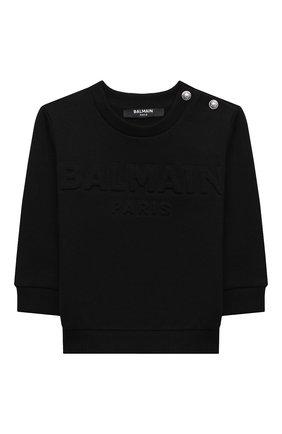 Детский хлопковый свитшот BALMAIN черного цвета, арт. 6N4840/NX300/12-36M | Фото 1