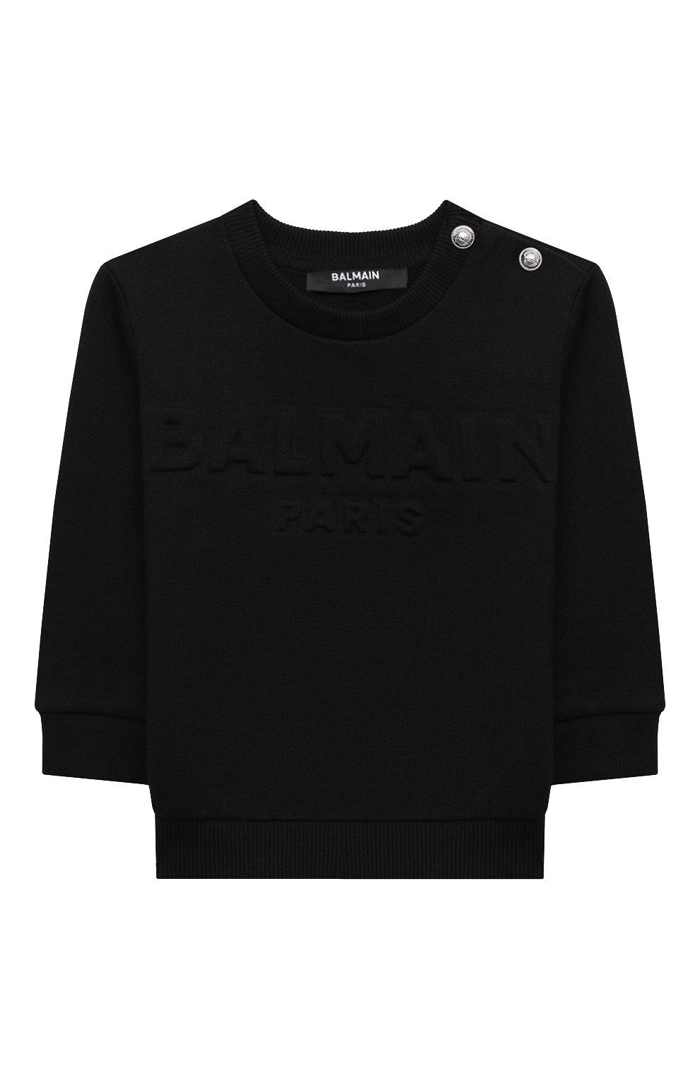 Детский хлопковый свитшот BALMAIN черного цвета, арт. 6N4840/NX300/3-9M   Фото 1