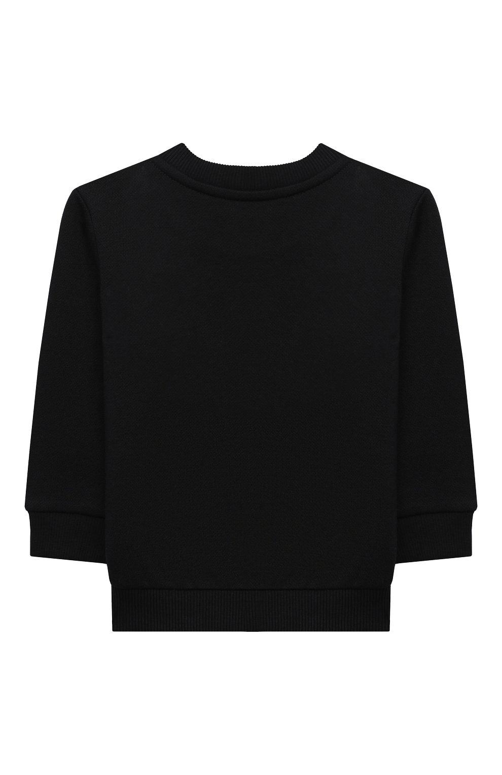 Детский хлопковый свитшот BALMAIN черного цвета, арт. 6N4840/NX300/3-9M   Фото 2