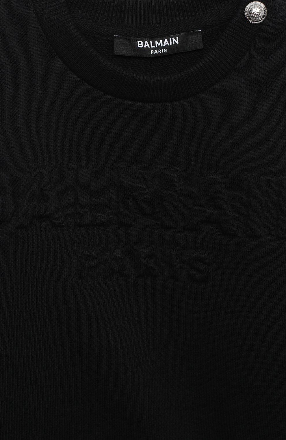 Детский хлопковый свитшот BALMAIN черного цвета, арт. 6N4840/NX300/3-9M   Фото 3