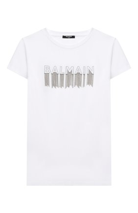 Детская хлопковая футболка BALMAIN белого цвета, арт. 6N8061/NC610/4-10 | Фото 1