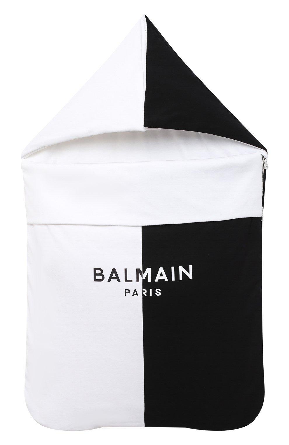 Детский хлопковый конверт BALMAIN черно-белого цвета, арт. 6N0910/NX690 | Фото 1