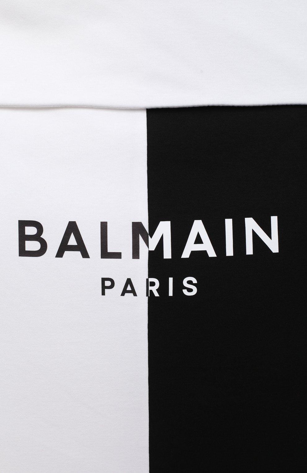 Детский хлопковый конверт BALMAIN черно-белого цвета, арт. 6N0910/NX690 | Фото 3