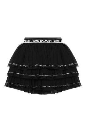 Детская юбка BALMAIN черного цвета, арт. 6N7050/NE530/4-10 | Фото 1