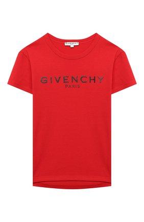 Детская хлопковая футболка GIVENCHY красного цвета, арт. H15185 | Фото 1