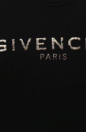 Детская хлопковая футболка GIVENCHY черного цвета, арт. H15185 | Фото 3