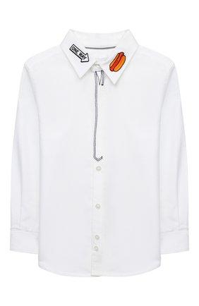 Детская хлопковая рубашка MARC JACOBS (THE) белого цвета, арт. W25429 | Фото 1 (Рукава: Длинные; Случай: Повседневный; Ростовка одежда: 2 года | 92 см, 3 года | 98 см, 4 года | 104 см, 5 лет | 110 см, 7 лет | 122 см)
