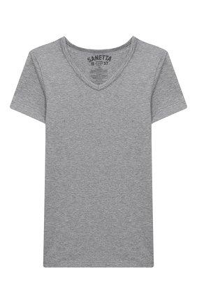 Детская хлопковая футболка SANETTA серого цвета, арт. 344685. | Фото 1