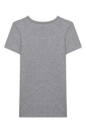 Детская хлопковая футболка SANETTA серого цвета, арт. 344685. | Фото 2