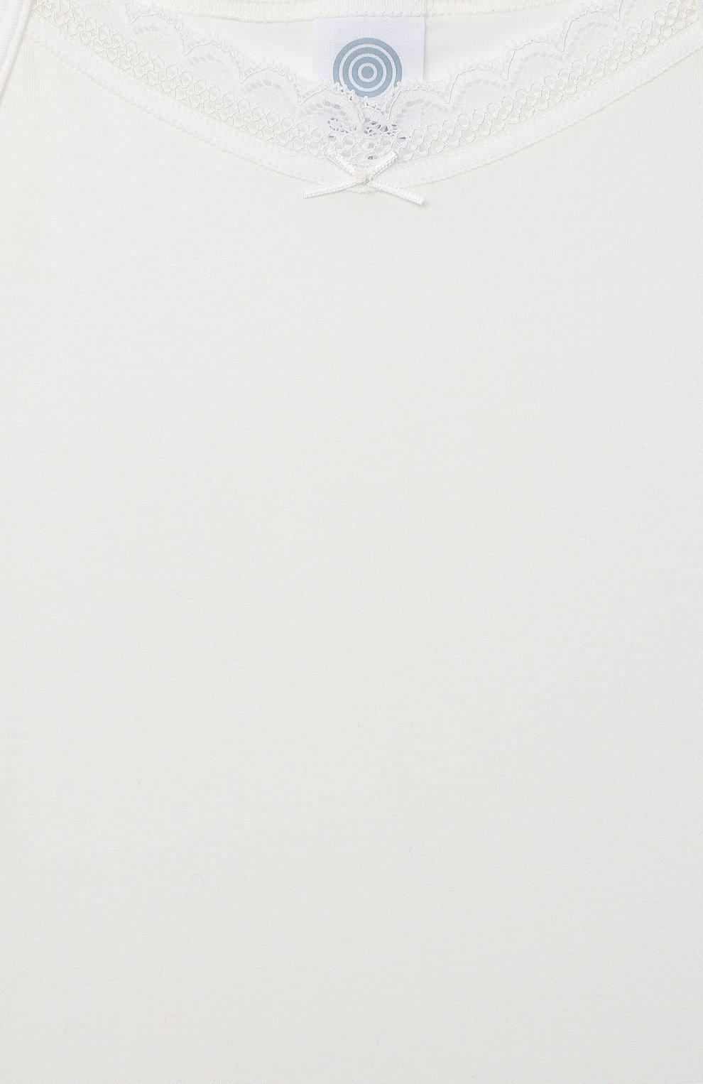 Детская хлопковая майка SANETTA белого цвета, арт. 344653. | Фото 3