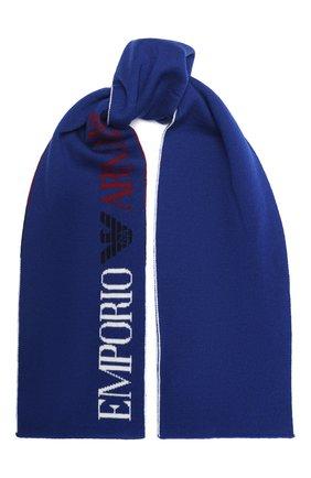 Детский шерстяной шарф EMPORIO ARMANI синего цвета, арт. 404384/0A430 | Фото 1