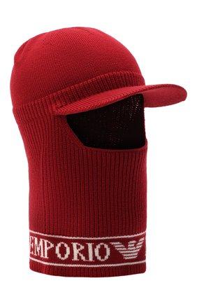 Детского шерстяная шапка-балаклава EMPORIO ARMANI красного цвета, арт. 404616/0A466 | Фото 1