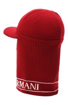 Детского шерстяная шапка-балаклава EMPORIO ARMANI красного цвета, арт. 404616/0A466 | Фото 2