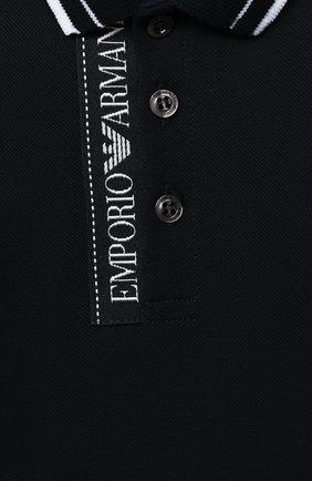 Детский хлопковое поло EMPORIO ARMANI темно-синего цвета, арт. 6HHF79/1JRNZ | Фото 3