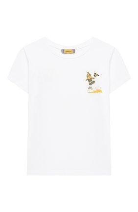 Детская хлопковая футболка MUMOFSIX белого цвета, арт. MOSMI_TS01B | Фото 1