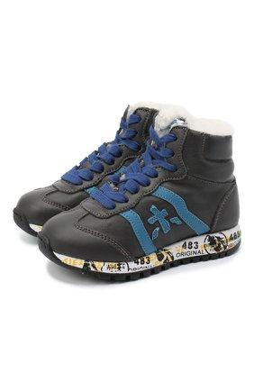 Детские высокие кроссовки PREMIATA WILL BE серого цвета, арт. ADAM-M/M0081312/T0D | Фото 1 (Материал утеплителя: Натуральный мех; Стили: Гранж)