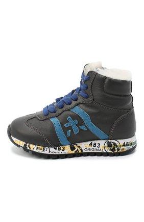 Детские высокие кроссовки PREMIATA WILL BE серого цвета, арт. ADAM-M/M0081312/T0D | Фото 2 (Материал утеплителя: Натуральный мех; Стили: Гранж)
