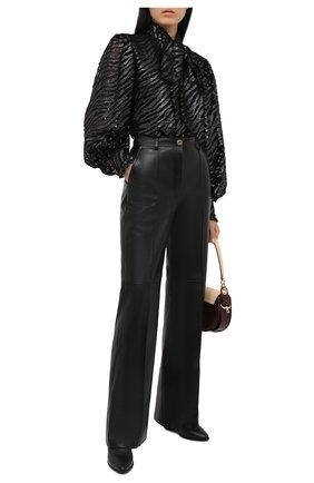 Женские кожаные брюки GUCCI черного цвета, арт. 629532/XN336 | Фото 2