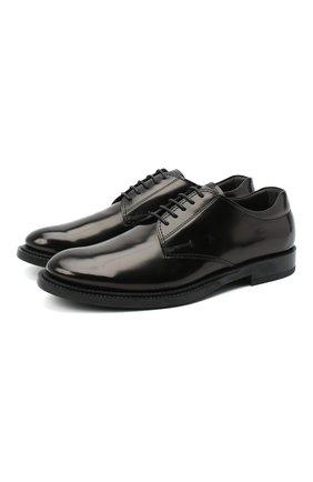 Мужские кожаные дерби TOD'S черного цвета, арт. XXM62C00C20AKT | Фото 1