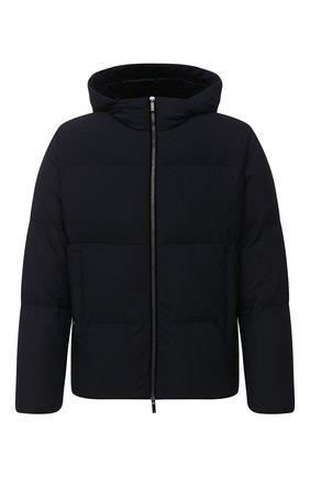 Мужская пуховая куртка GIORGIO ARMANI темно-синего цвета, арт. 0WG0C040/J0008 | Фото 1 (Материал подклада: Синтетический материал; Материал утеплителя: Пух и перо; Длина (верхняя одежда): Короткие; Материал внешний: Синтетический материал; Рукава: Длинные; Мужское Кросс-КТ: Верхняя одежда, Пуховик-верхняя одежда, пуховик-короткий; Стили: Кэжуэл; Кросс-КТ: Пуховик, Куртка)