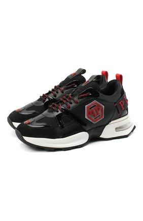 Мужские комбинированные кроссовки hexagon PHILIPP PLEIN черного цвета, арт. F20S MSC2868 PXV001N | Фото 1