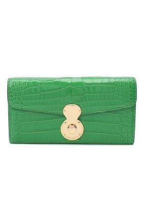Женские кошелек из кожи аллигатора RALPH LAUREN зеленого цвета, арт. 434814634/AMIS   Фото 1