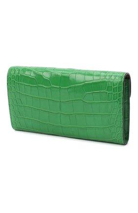 Женские кошелек из кожи аллигатора RALPH LAUREN зеленого цвета, арт. 434814634/AMIS   Фото 2