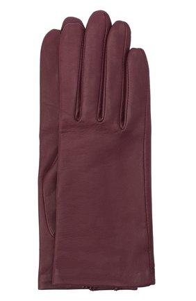 Женские кожаные перчатки с подкладкой из шелка AGNELLE фиолетового цвета, арт. KATE/S | Фото 1