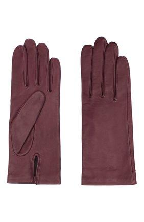 Женские кожаные перчатки с подкладкой из шелка AGNELLE фиолетового цвета, арт. KATE/S | Фото 2