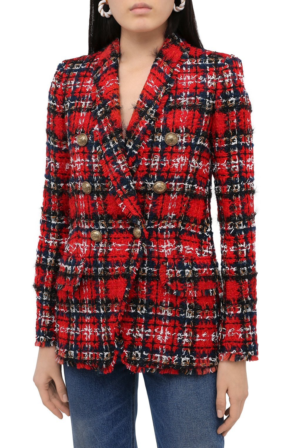 Женский жакет BALMAIN красного цвета, арт. UF17471/W076   Фото 4