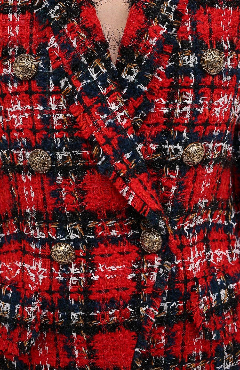 Женский жакет BALMAIN красного цвета, арт. UF17471/W076   Фото 6