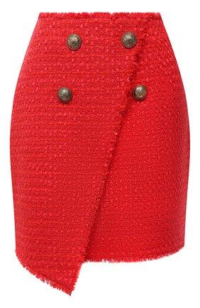 Женская юбка BALMAIN красного цвета, арт. UF14059/X396 | Фото 1