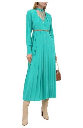 Женское шелковое платье VICTORIA BECKHAM зеленого цвета, арт. 1320WDR001492A | Фото 2