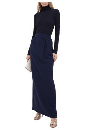 Женская шелковая юбка GIORGIO ARMANI синего цвета, арт. 0WHNN03W/T0010 | Фото 2