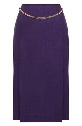 Женская шерстяная юбка VICTORIA BECKHAM фиолетового цвета, арт. 1320WSK001580A | Фото 1
