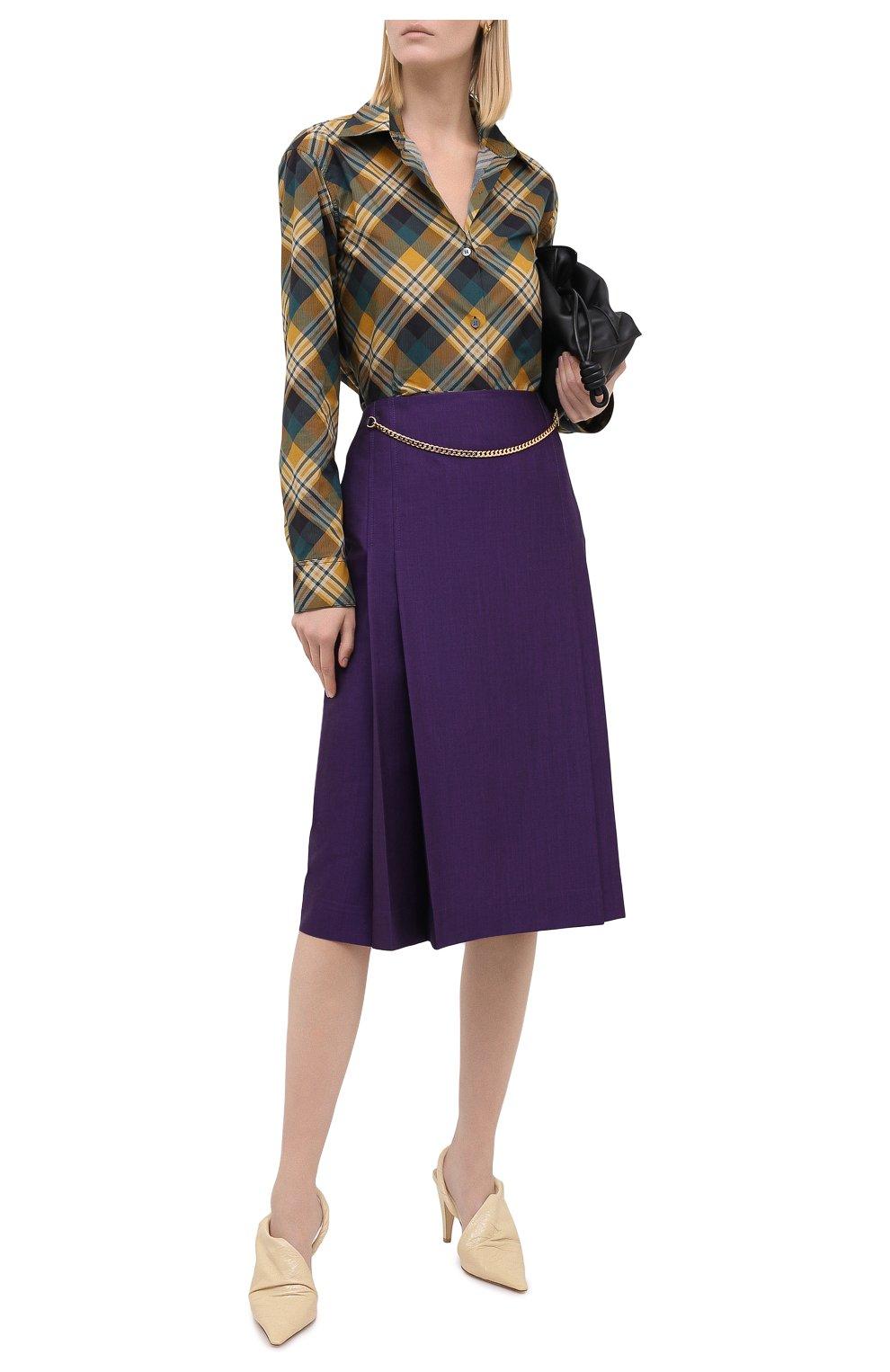 Женская шерстяная юбка VICTORIA BECKHAM фиолетового цвета, арт. 1320WSK001580A | Фото 2