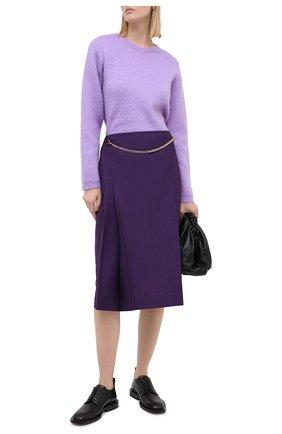 Женская шерстяная юбка VICTORIA BECKHAM фиолетового цвета, арт. 1320WSK001580A | Фото 3