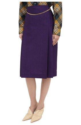 Женская шерстяная юбка VICTORIA BECKHAM фиолетового цвета, арт. 1320WSK001580A | Фото 4