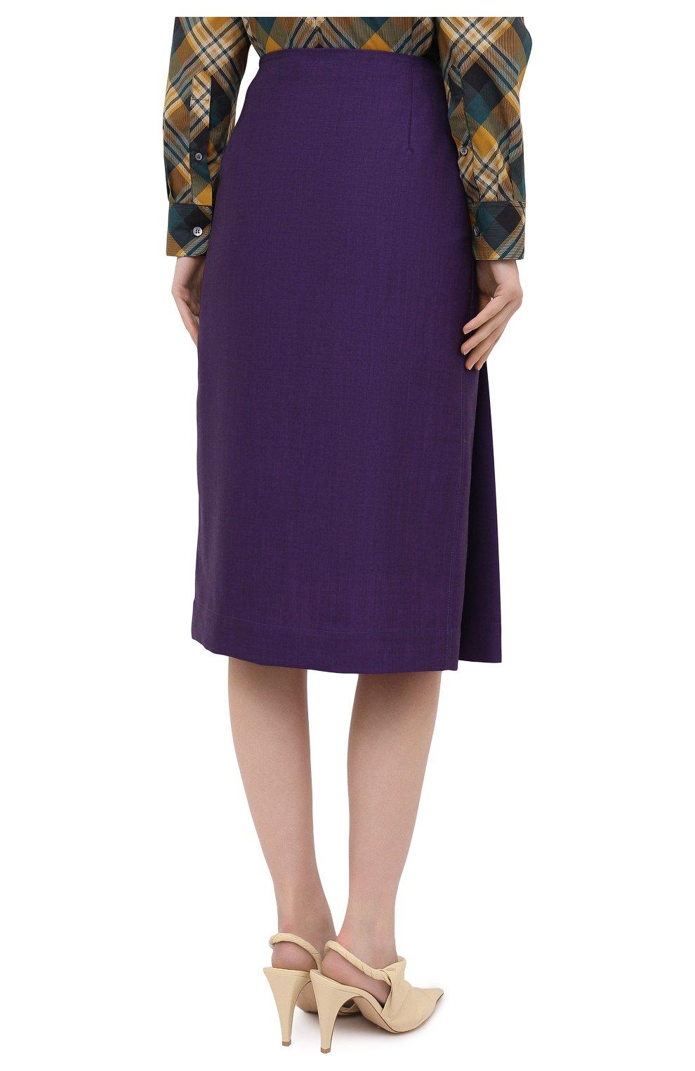 Женская шерстяная юбка VICTORIA BECKHAM фиолетового цвета, арт. 1320WSK001580A | Фото 5