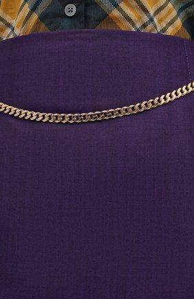 Женская шерстяная юбка VICTORIA BECKHAM фиолетового цвета, арт. 1320WSK001580A | Фото 6