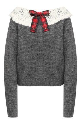 Женский шерстяной свитер MIU MIU серого цвета, арт. MML358-1W7J-F0480   Фото 1