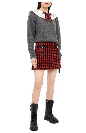 Женский шерстяной свитер MIU MIU серого цвета, арт. MML358-1W7J-F0480   Фото 2