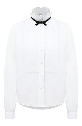 Женская хлопковая блузка MIU MIU белого цвета, арт. MK1419-819-F0009   Фото 1