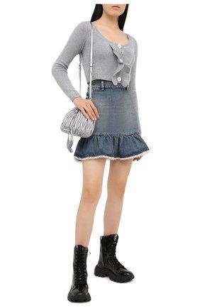 Женский кашемировый кардиган MIU MIU серого цвета, арт. MMF258-1G3W-F0031   Фото 2