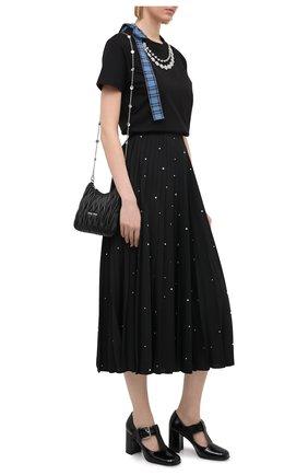 Женская хлопковая футболка MIU MIU черного цвета, арт. MJN231-1XEW-F0002   Фото 2