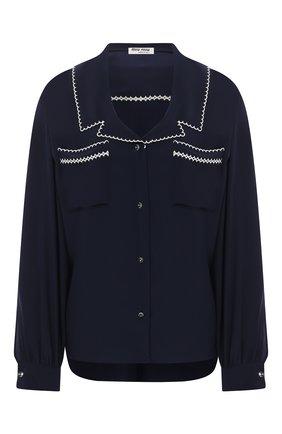 Женская шелковая блузка MIU MIU синего цвета, арт. MK1467-102-F0124   Фото 1