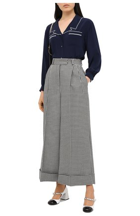Женская шелковая блузка MIU MIU синего цвета, арт. MK1467-102-F0124   Фото 2