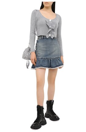 Женская джинсовая юбка MIU MIU синего цвета, арт. GWD242-1XHD-F0008 | Фото 2
