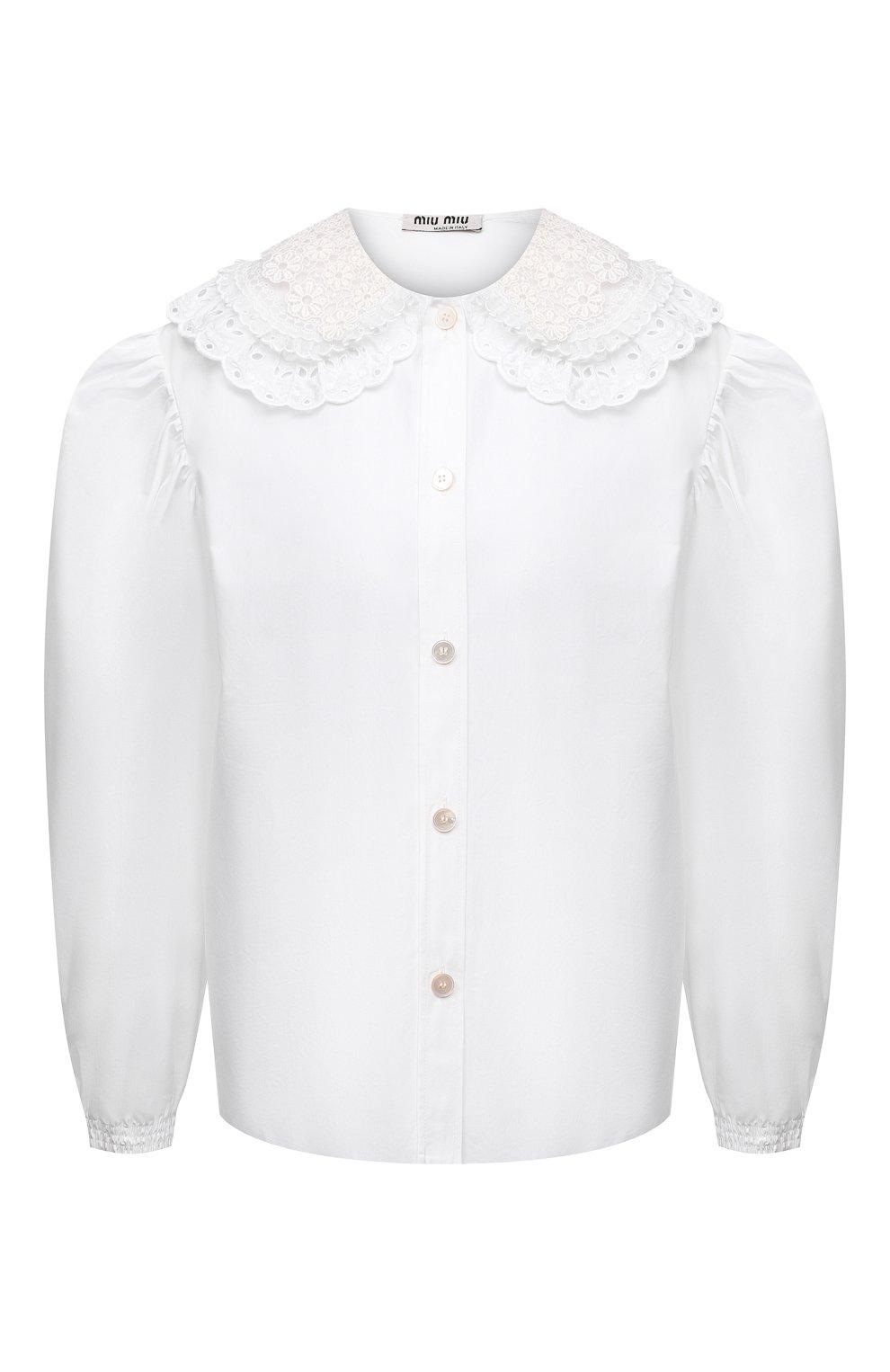 Женская хлопковая блузка MIU MIU белого цвета, арт. MK1479-1AYZ-F0009   Фото 1