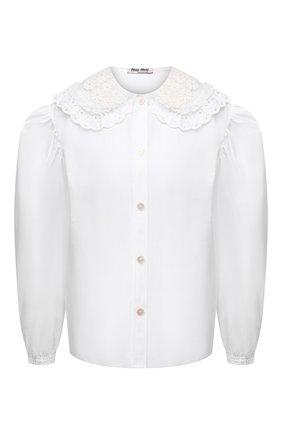 Женская хлопковая блузка MIU MIU белого цвета, арт. MK1479-1AYZ-F0009 | Фото 1 (Длина (для топов): Стандартные; Рукава: Длинные; Материал внешний: Хлопок; Женское Кросс-КТ: Блуза-одежда; Принт: Без принта)
